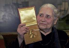"""Doris Lessing was the Nobel prize-winning, free-thinking, world-traveling and often-polarizing author of """"The Golden Notebook"""" and dozens of other novels that reflected her own improbable journey across the former British empire. She was the author of more than 55 works of fiction, opera, nonfiction and poetry. (22 October 1919 – 17 November 2013)"""
