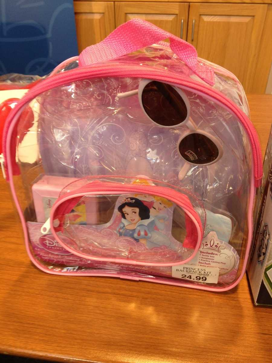 """Disney Princess Backpack Fishing Kit by Disney&#x3B; Pure Fishing, a subsidiary of Jarden Corp.WATCH SAYS: This """"Disney Princess"""" backpack, marketed for children as young as 4-years-old, includes a tackle box, sunglasses, and """"practice casting plug."""" Remarkably, the cardboard insert warns that the play item """"contains lead,"""" which may be """"harmful if eaten or chewed,"""" and further that the toy """"[m]ay generate dust containing lead."""" Toxic chemicals should not be in children's products."""