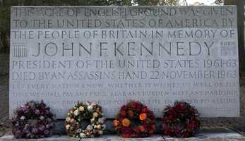 Wreaths laid at the JFK memorial at Runnymede, England, Friday, Nov. 22, 2013. A short ceremony took place at the JFK memorial which overlooks the site of the signing go the Magna Carta in 1215. Friday is the 50th anniversary of the assassination of President John F. Kennedy in Dallas.