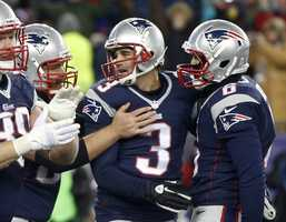 Stephen Gostkowski is congratulated after his field goal in overtime capped the greatest comeback in Patriots history on Nov. 24, 2013.  Down 24-0 at half-time to Peyton Manning and the Denver Broncos, the Patriots scored 31 unanswered points in the second half and eventually won 34-31 in overtime.