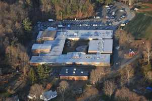 An aerial photograph of Sandy Hook Elementary School.