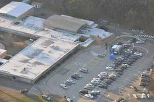 An aerial photograph of Sandy Hook Elementary School