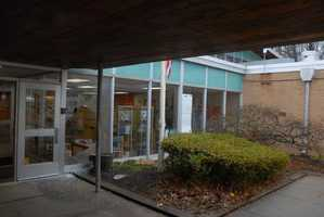 The front entrance of Sandy Hook Elementary