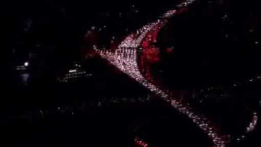Nightime traffic gridlock aerial 112613