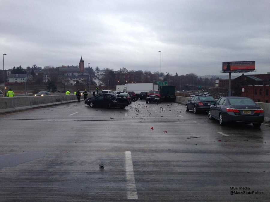 Freezing rain caused a series of crashes in central and northern Massachusetts Sunday morning.