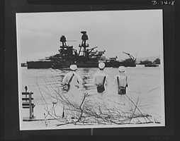 Pearl Harbor bombing. Nevada underway. Severely damaged and beached during the Japanese attack on Pearl Harbor, the USS Nevada gets ready to leave her Hawaiian anchorage for permanent repairs at a U.S. port. Temporary repairs made at Pearl Harbor enabled the battleship to make the voyage under her own power