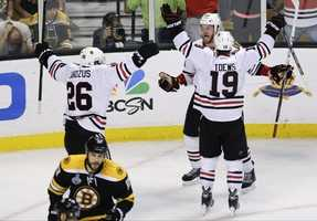 On June 24, the Bruins played the Blackhawks in Game 6 of the Stanley Cup. The B's lost when Bryan Bickell and Dave Bolland scored 17 seconds apart in the final 1:16 to beat the Boston.