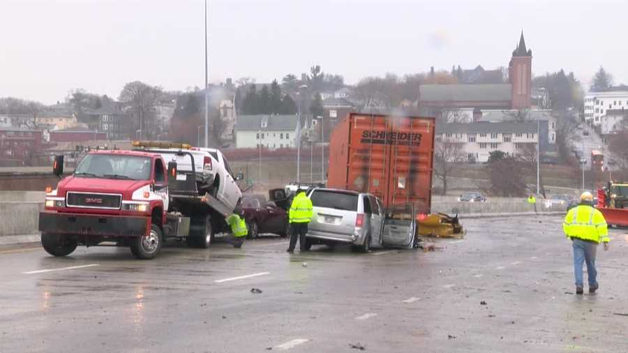A 70-vehicle crash snarled traffic for hours on Interstate 290 in Worcester on Dec. 1.