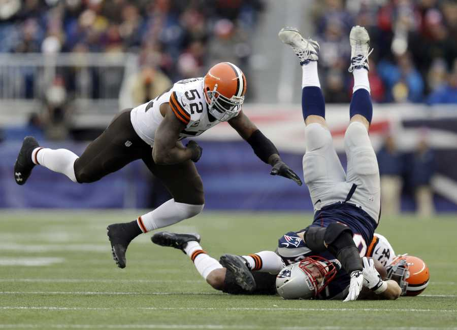 Rob Gronkowski was hurt on a hit by Browns safety T.J. Ward after a 21-yard reception with the Browns leading 12-0.