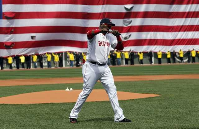 """A defiant David Ortiz stood on the Fenway Park infield on April 20 and told the crowd to stay strong. """"This is our ... city,"""" he said, using an expletive that elicited a huge cheer."""