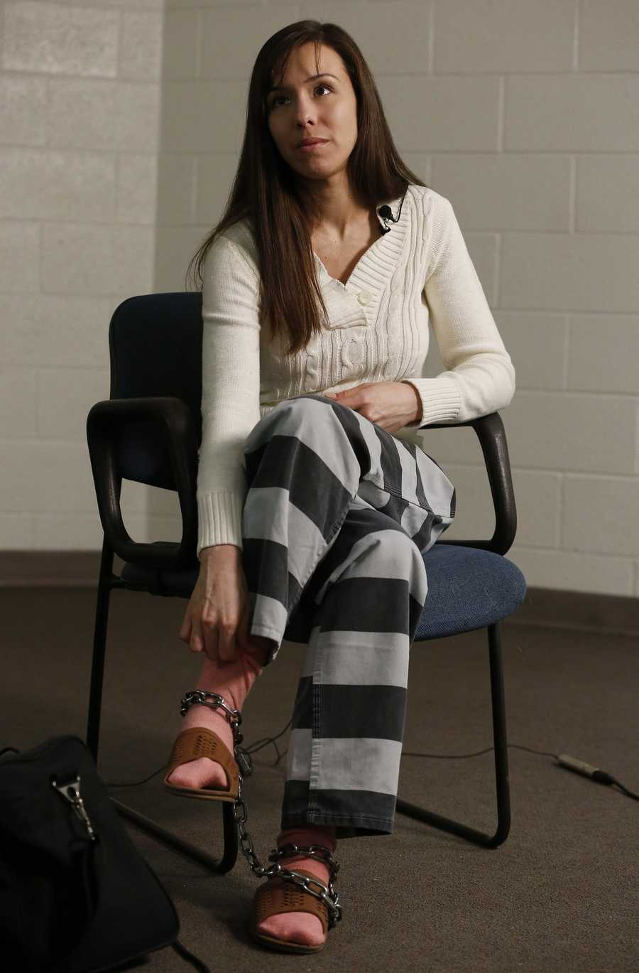 Convicted killer Jodi Arias pauses for a moment during an interview at the Maricopa County Estrella Jail on Tuesday, May 21 in Phoenix. Arias was convicted of killing her former boyfriend Travis Alexander in his suburban Phoenix home back in 2008.