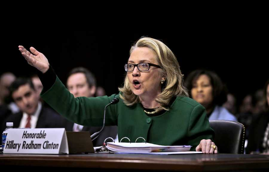 Secretary of State Hillary Rodham testifies on Capitol Hill in Washington, Wednesday, Jan. 23, before the Senate Foreign Relations Committee hearing on the deadly September attack on the U.S. diplomatic mission in Benghazi, Libya, that killed Ambassador Chris Stevens and three other Americans.