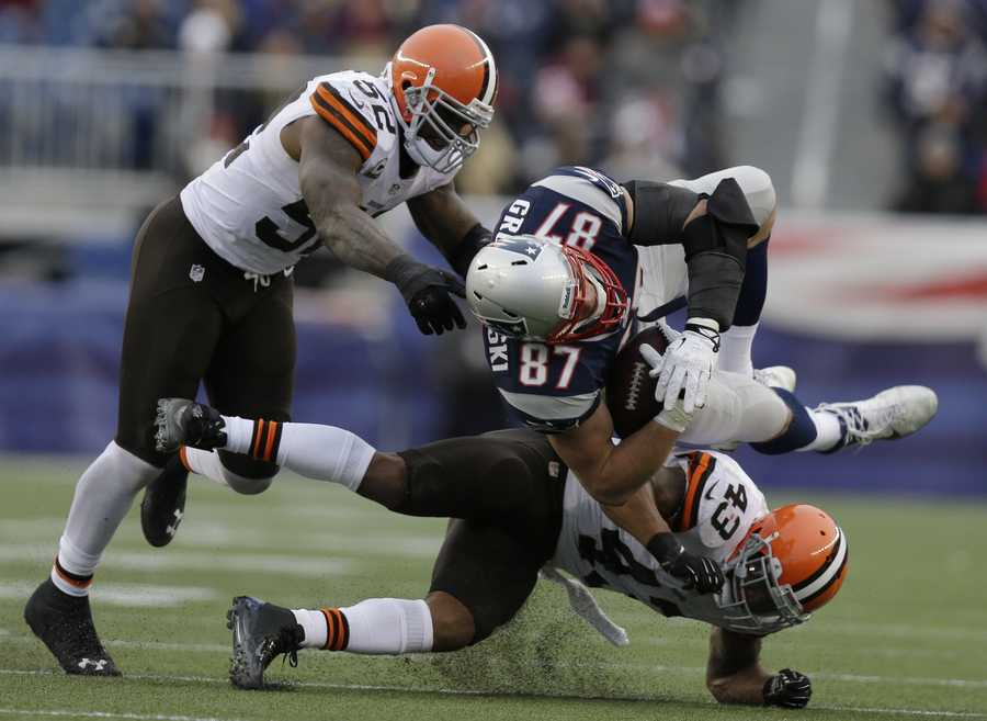 Patriots tight end Rob Gronkowski suffers a torn ACL in the Pats' game against the Browns on Dec. 8. The injury put him out for the season.