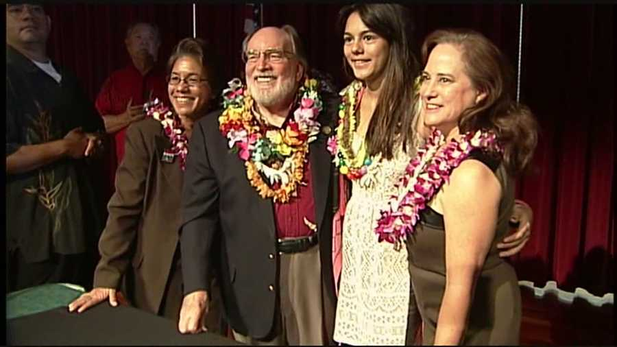 Hawaii Gov. Neil Abercrombie on Nov. 13. signs into law a bill making same-sex marriage legal.
