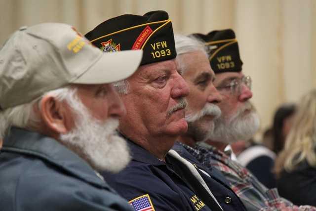 Ipswich veterans look on during the ceremonies