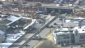 A car carrier struck a bridge on Route 9 in Framingham Wednesday morning.