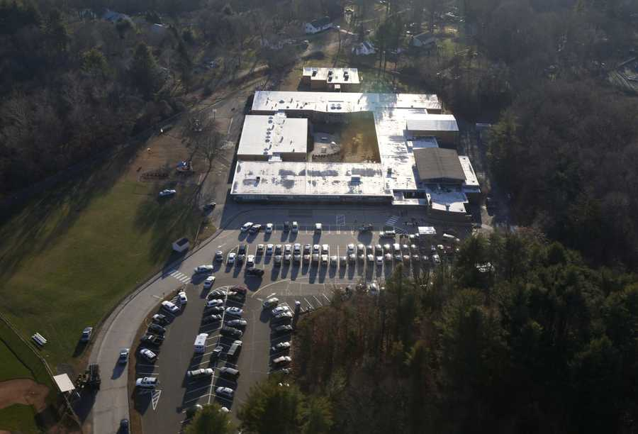 26 people were killed inside the Connecticut elementary school, including 20 children, after a gunman opened fire, blasting way through the building.