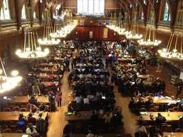 Students filled Annenberg Hall after being evacuated Monday morning due to bomb threats.