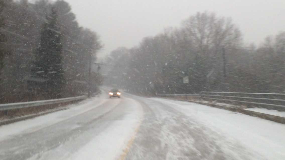 Snow, driving daytime