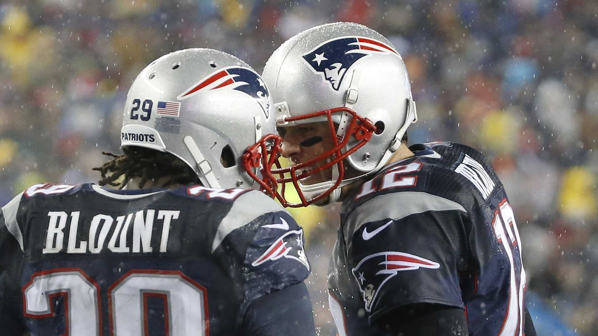 New England Patriots running back LeGarrette Blount (29) celebrates his touchdown with quarterback Tom Brady, right, in the second quarter of an NFL football game against the Buffalo Bills Sunday, Dec. 29, 2013, in Foxborough, Mass.