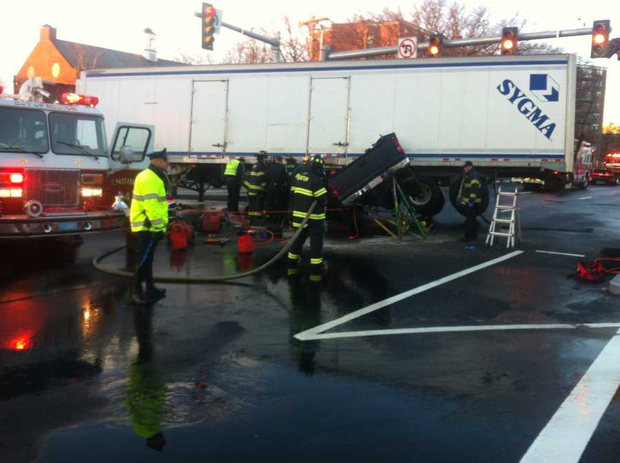 The crash happened on Route 9 near The Mall at Chestnut Hill.