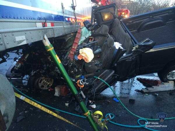 The truck driver suffered serious injuries, according to Massachusetts State Police.
