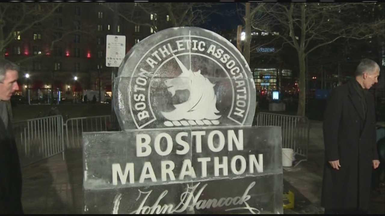 img-Boston Marathon ice sculpture unveiled ahead of First Night 2014