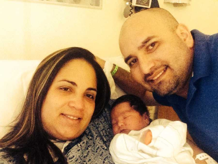 Mia Carolina Espinoza Rodriguez was born at 12:02 a.m. to mom Diana and dad Christian. She weighs 9 pounds, 12 ounces.
