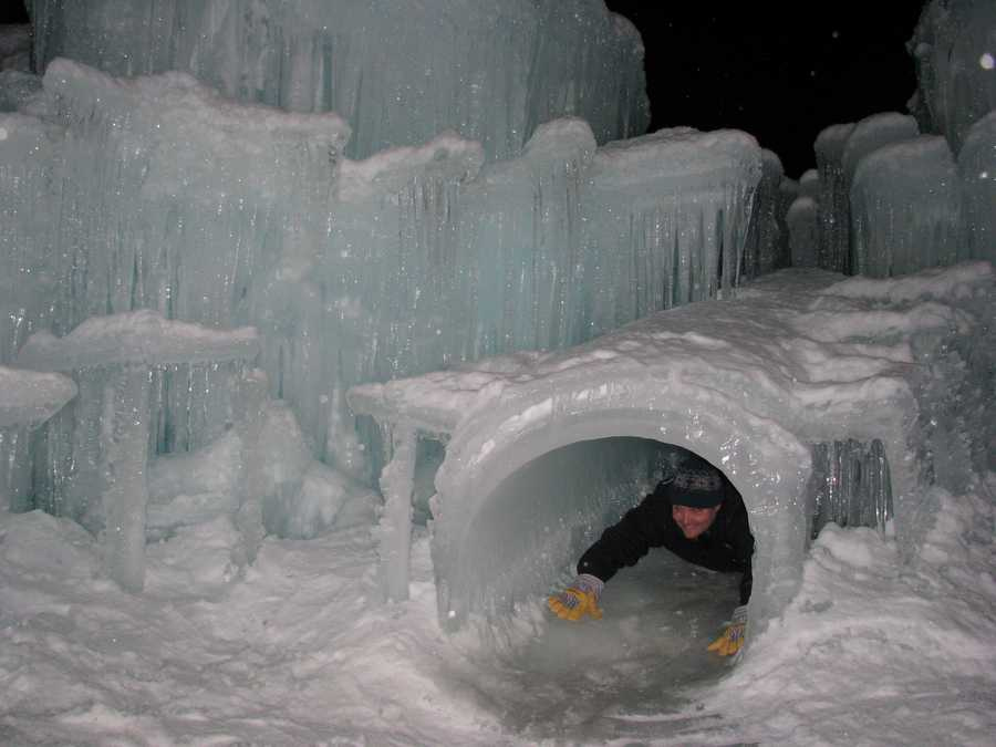 It boasts a waterfall, ice slide and a cave-like tunnel feature.