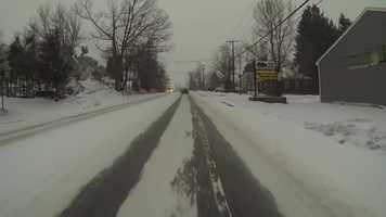 Snow covered roads in Worcester.
