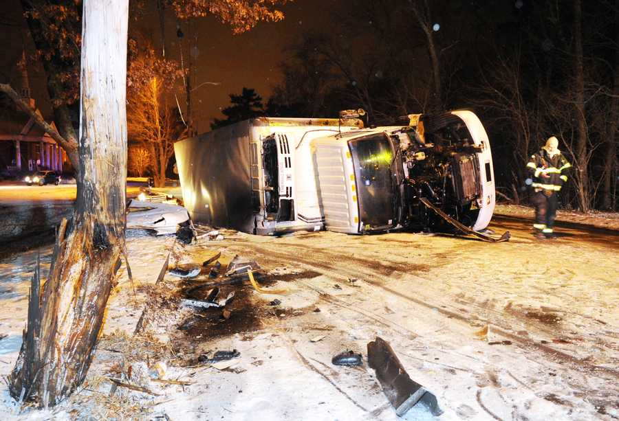 Rollover truck vs utility pole on Thursday, Jan. 1, 2014 North Main Street in West Bridgwater was closed.