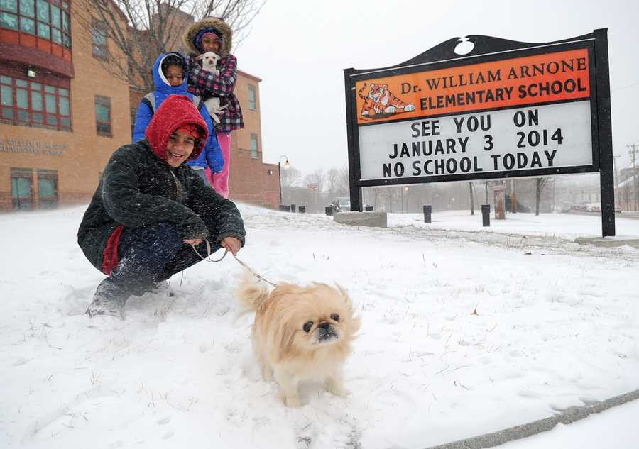 Bruno Henriques, 12, front, Josemar Santos, 6, Bruna Henriques, 13, and their dogs Bella and Snowflake play in the snow in front of the Arnone School in Brockton on a snow day, Jan. 2, 2014.