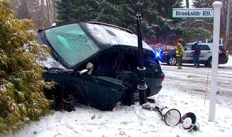 One person was injured in a single vehicle rollover accident on County Road in Bourne, Massachusetts Thursday, January 2, 2014.
