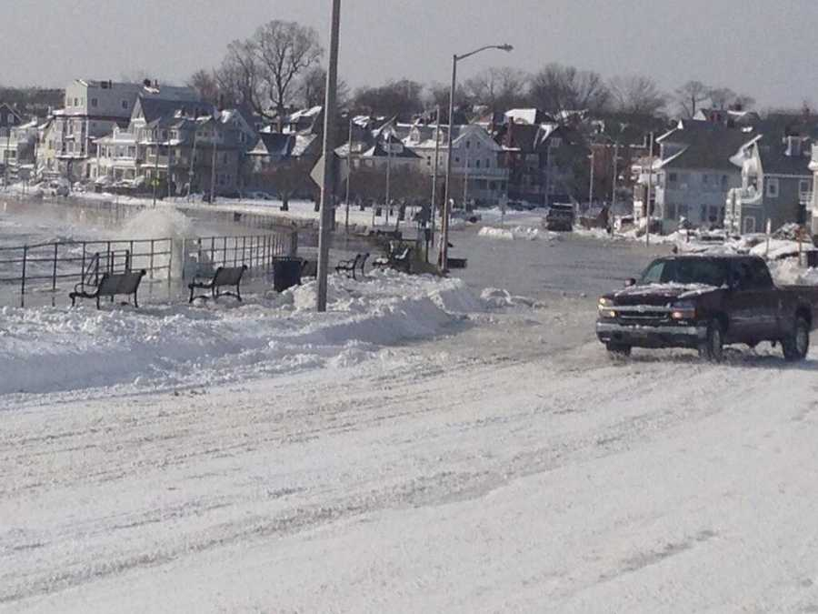 Lynn Shore Drive closed a midday Friday during the high tide.