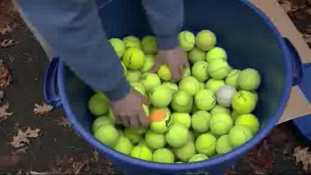 Tennis balls Boston Strong