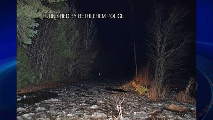 River Road in Bethlehem shut down after ice jam causes water from the Ammonoosuc River to recede.