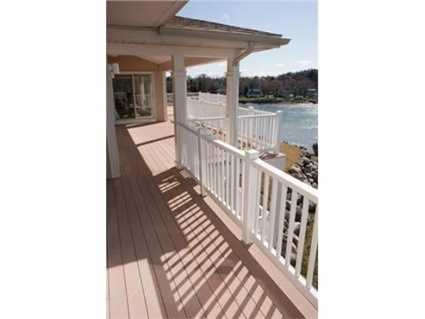 There's a deck on two levels of the home.