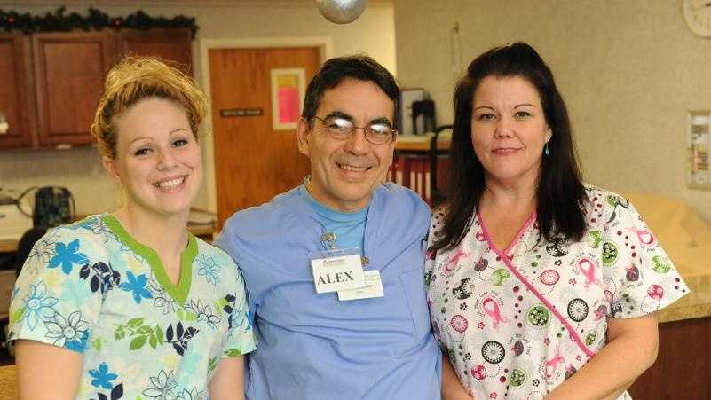 CNAs Kendra Potter, Alex DeMelo and Cindy Garnett at Charlene Manor where they work. DeMelo, a former actor in Brazil, took a five-week training program through Greenfield Community College.