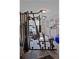 A workout room.