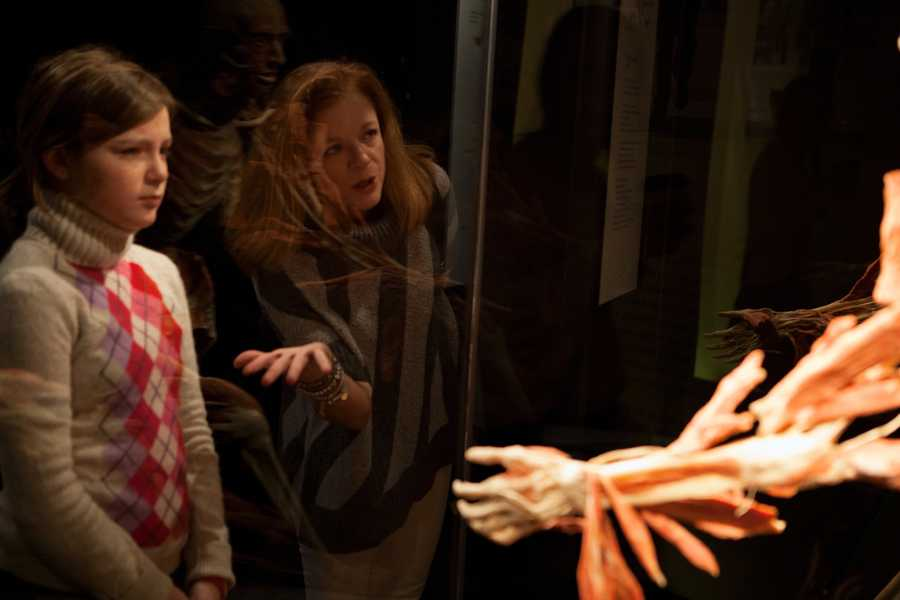 """Kathleen Carroll (center) talks to her daughter Kris Carroll (left) in the exhibit.""""See, that is the hand,"""" says Carroll."""