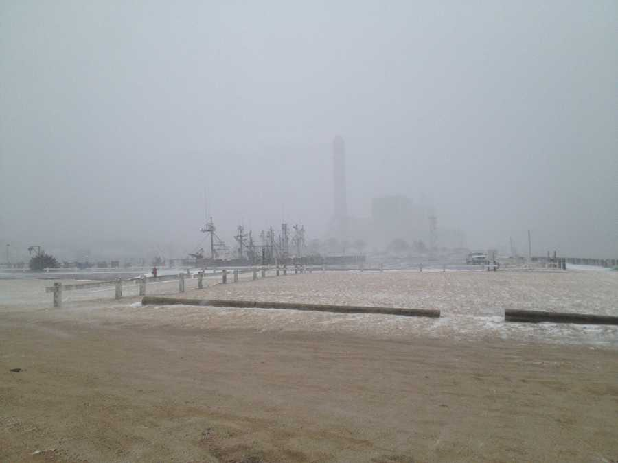 Visibility was down to a quarter-mile along the Cape Cod Canal in Sandwich.