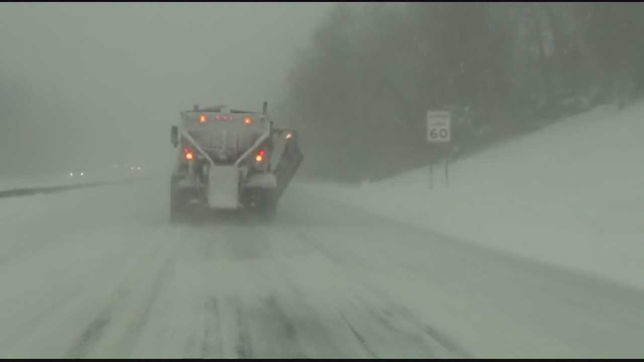 Whiteout conditions slow Route 3 drive
