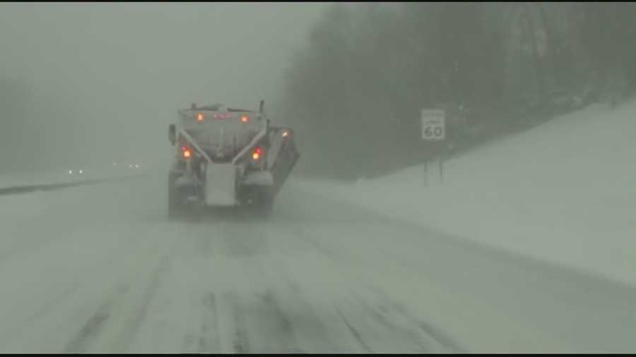 This is Route 3 near Kingston. The drive was slow, and the plows were out in force.