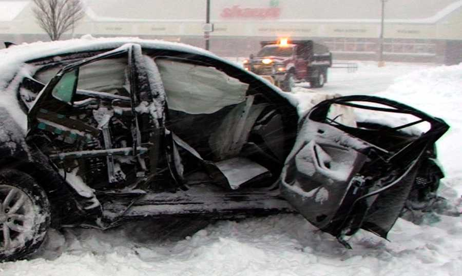 A driver was injured in Wareham when a car was hit by a snow plow on Route 6.