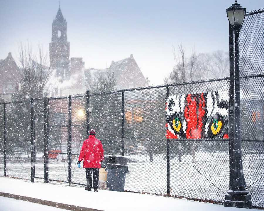 """Mary Kelly, of Braintree, and her dog """"Dapper Dan"""" walk near the Thayer Academy campus in Braintree. Snow began to fall around 4pm across the South Shore as a major winter storm was expected to hit the region, Tuesday, Jan 21, 2014."""