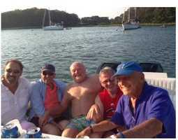 Jay Miller, Chet, Brian McLaughlin, Coleman Conley, Joe Kintigos enjoy a day on the boat.