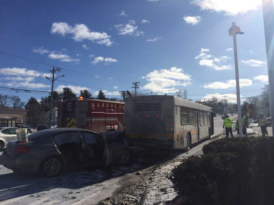 The bus was stopped at a bus stop on North Main Street when another car rear-ended the bus, an MBTA spokesman said.