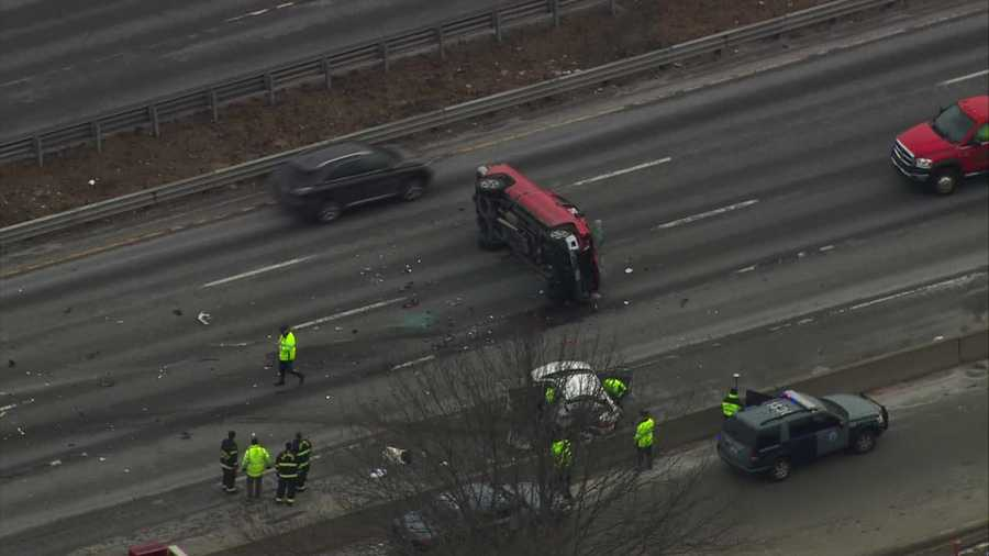 The crash happened Tuesday afternoon on the southbound side of the highway at the interchange with Route 3 in Burlington.