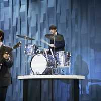 "Ringo Starr plays drums on the ""Ed Sullivan Show"" in New York."