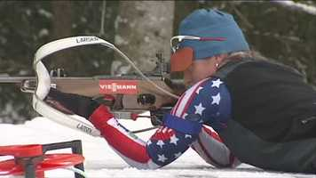 Hannah Dreissigacker, of Morrisville, Conn., is competing in the biathlon.